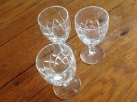 3 Vintage Stuart Crystal cut glass Sherry glasses