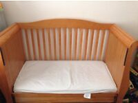 Solid pine sleigh cot bed.