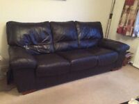 3 piece suite in soft brown Italian leather