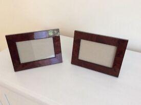 2 x walnut photo frames