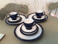 Denby Baroque .....3 dinner plates, side plates, cups and saucers