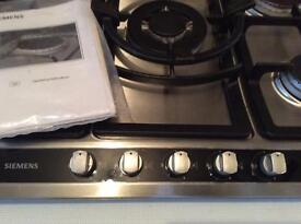 Siemens 5 ring gas hob and electric extractor fan.