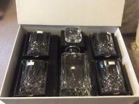 Royal Doulton Decanter Set: Square Crystal Decanter & 4 Tumbler Glasses