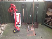 GARDEN HAND TOOLS X 4 & ELECTRIC GARDEN STRIMMER ONLY USED ONCE.