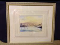 Framed painting of millennium and tyne bridges - perfect condition