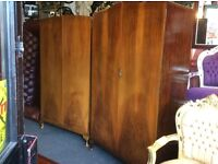 Matching pair of vintage French style wardrobes