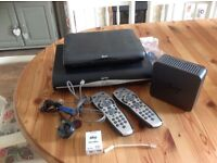 Sky HD boxes x 2, router and two controllers.