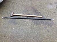 Pinch bar and Sledge hammer