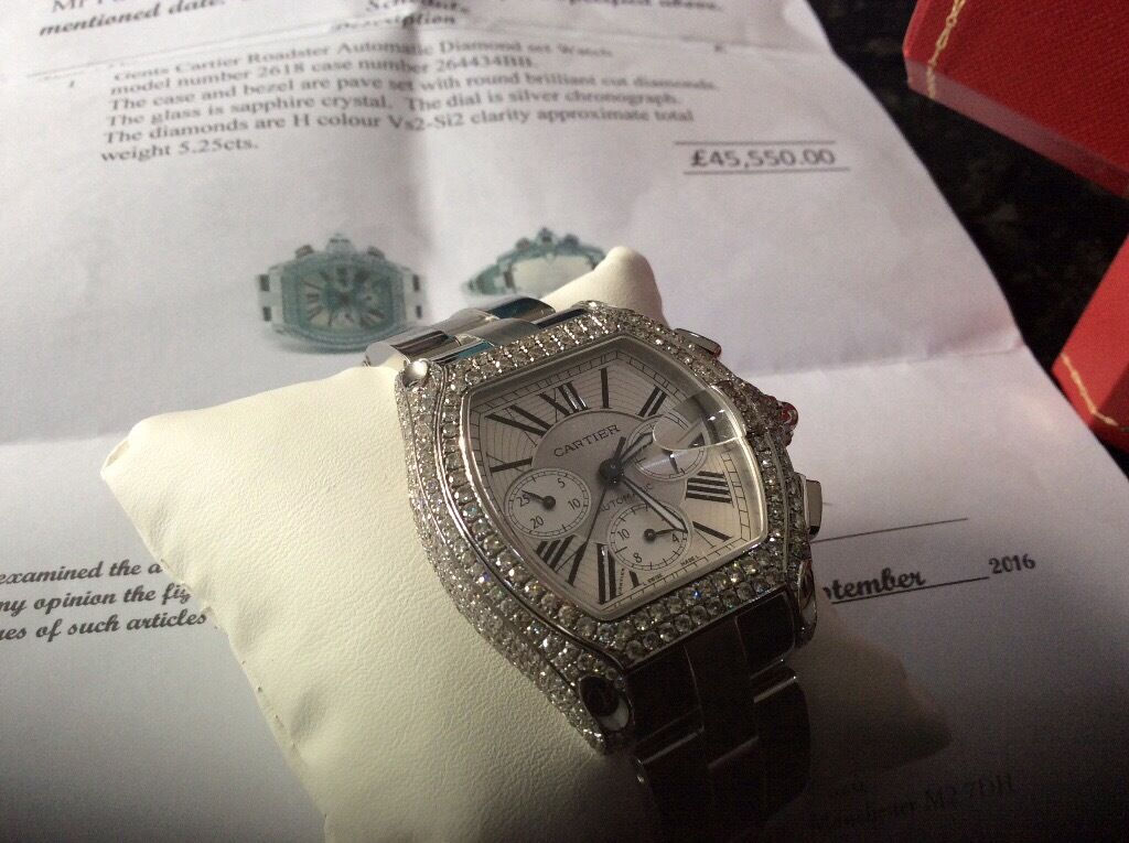 Diamond Cartier men's roadster watch amazing piece,Xmas gift treat yourself,may px,