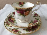 Royal Albert Bone China Trio. Old Country Roses. 1st Quality.