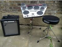 Electronic drums with amp, seat and pedals