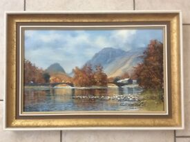 The Bridges at Grange in Borrowdale. Original, signed oil painting by Arthur T Blamires, 1985