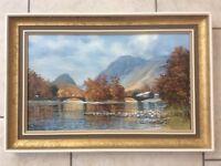 The Bridges at Grange in Borrowdale. Original, signed oil painting by Arthur T Blamires, 1985
