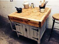 Butchers block prep station with storage cupboard