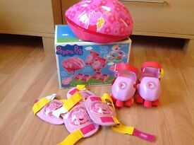 Excellent condition with original box peppy pig bike skate head helmet knee elbow pads and skates