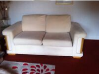 2 DFS large cream fabric couches and 1 armchair.