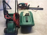 Qualcast electric lawnmower and Bosch electric Hedge Trimmer