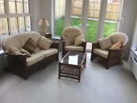 Conservatory furniture set: 2 chairs, 2 seater sofa & coffee table