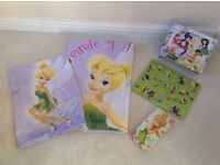 Tinkerbell duvet cover, puzzle, fuzzy felt and stationary