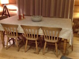 8 seater farmhouse table (ex Mother Hubbard) and 8 farmhouse chairs