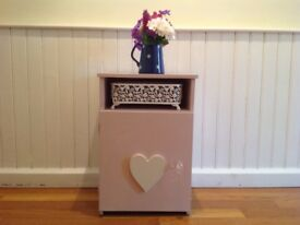 PRETTY IN PINK.......... VINTAGE HANDPAINTED IN SHABBY CHIC STYLE BEDSIDE CUPBOARD, IDEAL FOR BABY!
