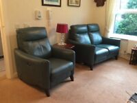 Green electric recliner leather sofa and chair