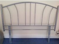 """Metal bed headboard, for double 4'6"""" bed, silver coloured, excellent condition"""