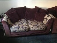 2 seat sofa & cuddle chair. Excellent condition. Aubergine and biscuit fabric cover.
