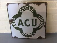 Vintage auto cycle Union hotel metal sign