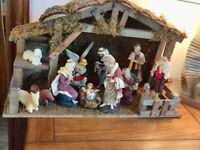 Christmas Nativity Large, 11 piece ceramic Hand Painted Set and Manger/Stable 56cm x 20cm