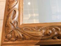 Large wooden decorative mirror