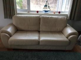Real Leather Cream 3 seater settee and chair