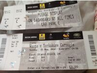 Wasp V Yorkshire Carnegie 21/August /2016 3 tickets plus car park pass