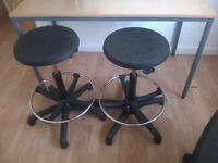 swivel stools with adjustable footrest X2 height adjustable, suit breakfast bar etc