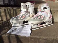 Ice Skates SFR Pink & White Adjustable sizing UK 4-7 (EUR 38-41)