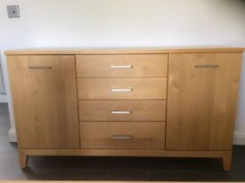 Beech sideboard with matching mirror