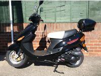 Direct Bikes black 50cc sports scooter/moped DB50QT-11, like new, 35 miles