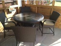 RATTAN GARDEN SET OF TABLE AND 4 CHAIRS
