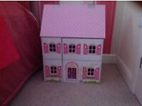 Wooden dolls house and furtuture
