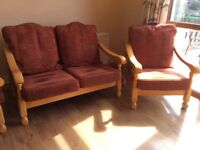 Wooden frame 2+1+1suite,good condition,removalable covers,good for dining/sunroom.