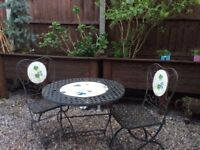 Black Cast Iron Bistro Table and 2 Chairs