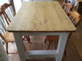 REDUCED. Chunky farmhouse style table & chairs