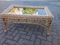 Ratton Glass Top Coffee Table