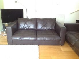 Pair of dark brown leather sofas originally made by Sofa Workshop. 1 x 3 seater & 1 x 2 seater.
