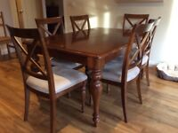 Cherry wood table and 6 chairs
