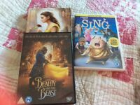 Beauty and the beast and Sing DVDs