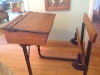 Victorian School Desk - iron/oak/good condition