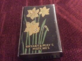 Vintage Matchbox Metal Cover. Bryant and May. Daffodil Design