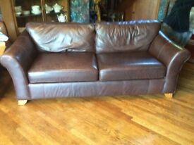 Large Dark Brown Leather Sofa