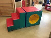 Large cube and steps. Soft play
